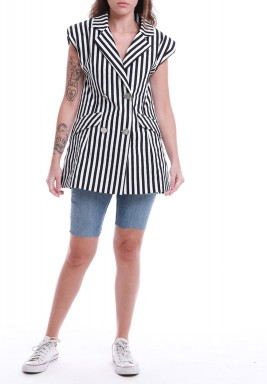 Black & White Striped Padded Shoulders Vest