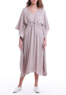 Beige Drawstring Short Sleeves Dress