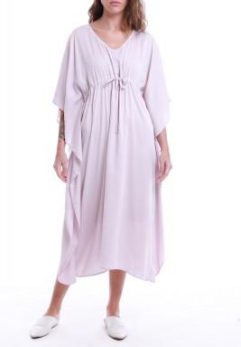 Pink Drawstring Short Sleeves Midi Dress