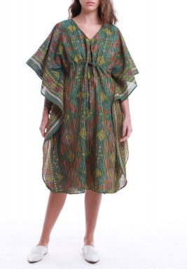 Multi Colored Striped Drawstring Dress