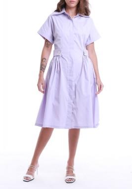 Purple Pleated Short Sleeves Dress