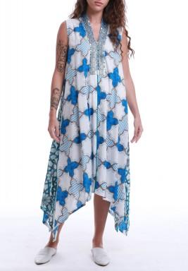White & Blue Sleeveless Printed Dress