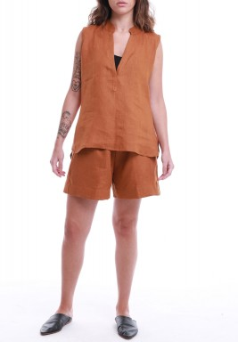 Brown Sleeveless Top & Shorts