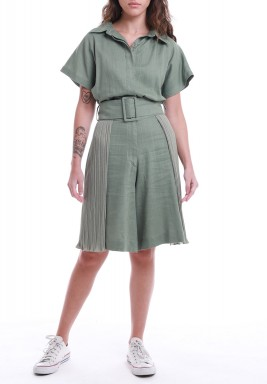 Olive Pleated Belted Knee-Length Jumpsuit