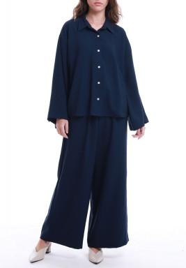 Navy Shirt & Wide Legged Pants Set