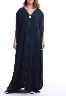 Navy Silk Adjustable Sleeves Maxi Dress