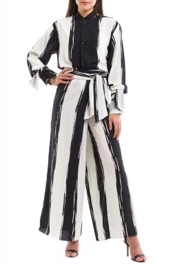 Black & White Striped Silk Set