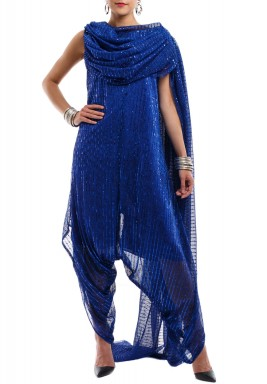 Blue Shimmery Side Shawl Jumpsuit