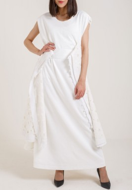 Draped White Kaftan