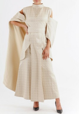 Lulu cut beige dress