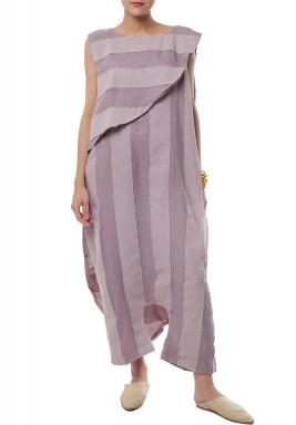 Wide stripes purple Jumsuit