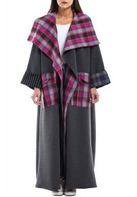 Red checked winter abaya