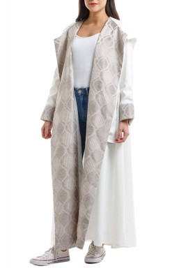 White & Grey Printed Hooded Abaya
