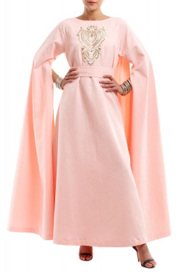 Peach Embroidered Open Sleeves Kaftan