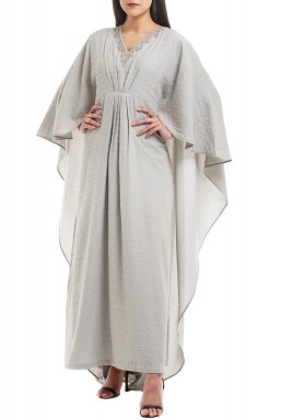 Grey Beaded Cape Sleeves Kaftan