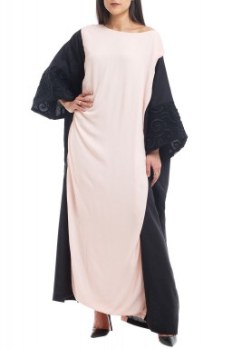 Black & Beige Embroidered Sleeves Kaftan