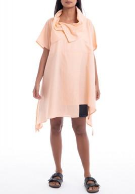 Peach Shawl Collar Slit Dress