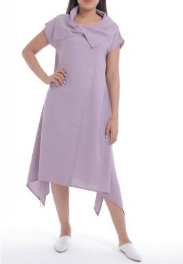 Purple Shawl Collar High-Low Dress