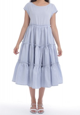 Blue Tiered Pleated Midi Dress