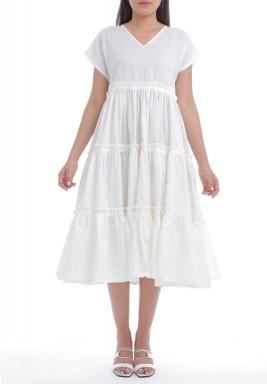 White Tiered Pleated Midi Dress
