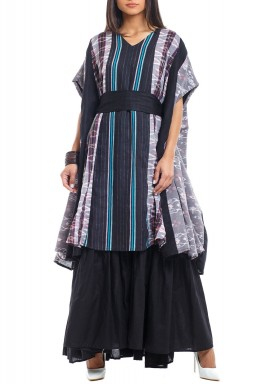 Black Striped Ruffled Kaftan