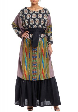 Black Printed Ruffled Kaftan