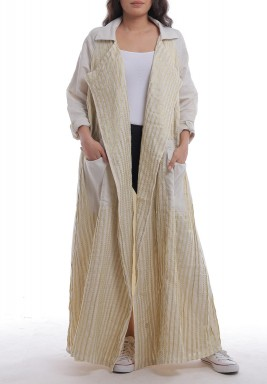 Beige Striped Pocket Abaya