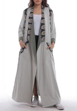 Grey Printed Maxi Abaya