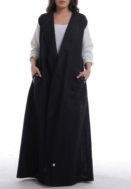 Black & White Textured Dots Abaya