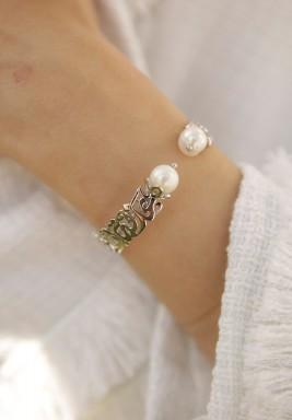 Calligraphy silver bracelet
