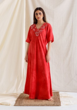 Red Embroidered Short Sleeves Kaftan