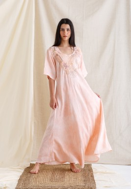 Pink Embroidered Short Sleeves Kaftan