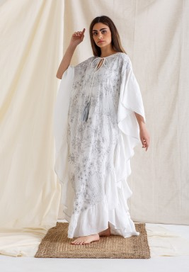 White Embroidered Ruffled Kaftan