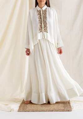 Ecru Sequined Top & Maxi Skirt
