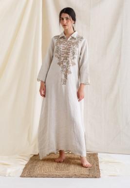 Beige Embroidered Hem Sweep Kaftan
