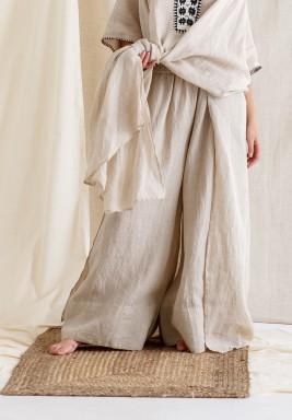 Beige High Waist Wide Legged Pants