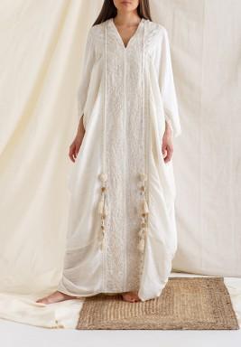 Ecru Embroidered Gathered Hem Kaftan