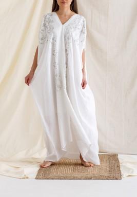 White Embroidered Slit Kaftan