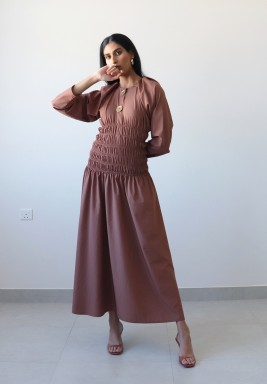 Brown Cinched Waist Long Sleeves Kaftan