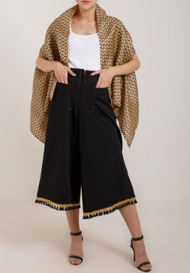 Beige Shawl & Black Pants Set