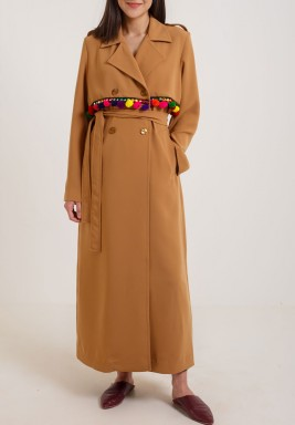 Camel Crepe Colorful Karkosha Coat