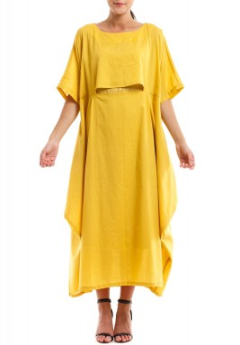 Yellow Solid Ruffled Kaftan