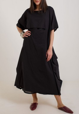 Black Solid Ruffled Kaftan