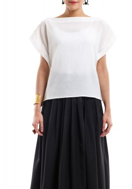 Tibi White Back Tie Top
