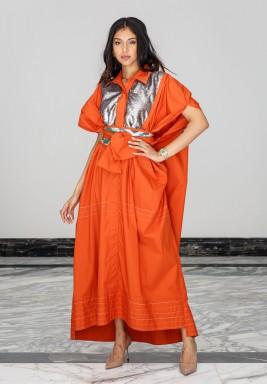 Orange Sequined Belted Kaftan