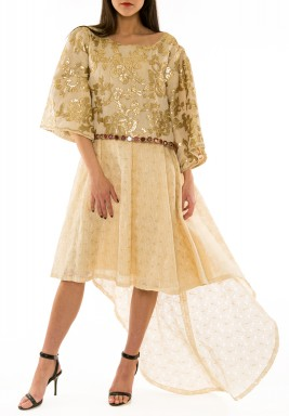 Golden Embroidered Linen Kaftan