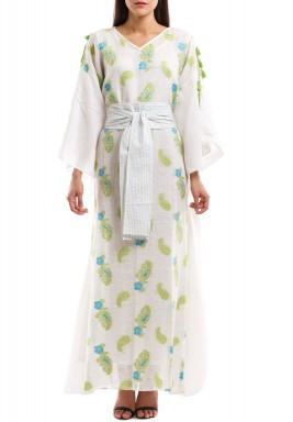 Aneesa White Embroidered Belted Kaftan