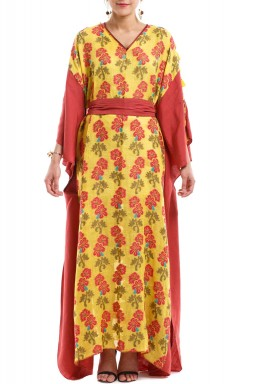 Yellow & Red Floral Kaftan