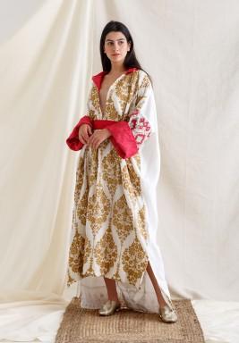 White & Beige Embroidery High-Low Kaftan