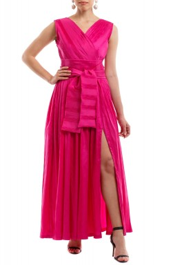 Mais Pink Pleated Belted Kaftan